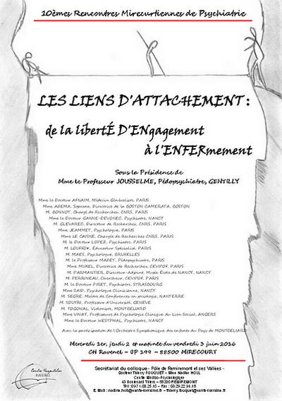 affiche 10e rencontres mirecurtiennes de psychiatrie - attachement