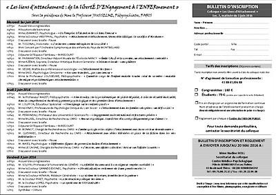 flyer verso 10e rencontres mirecurtiennes de psychiatrie - attachement