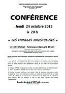 conference Bernard SAVIN familles incestueuses